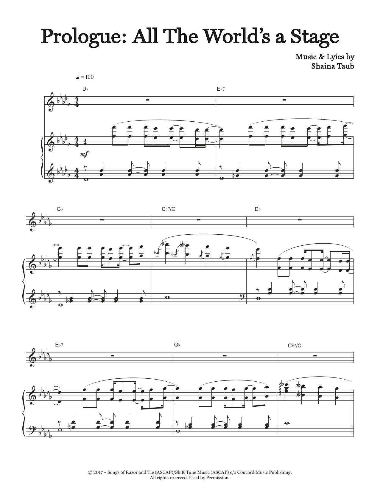 Prologue: All The World's A Stage (from As You Like It) Sheet Music
