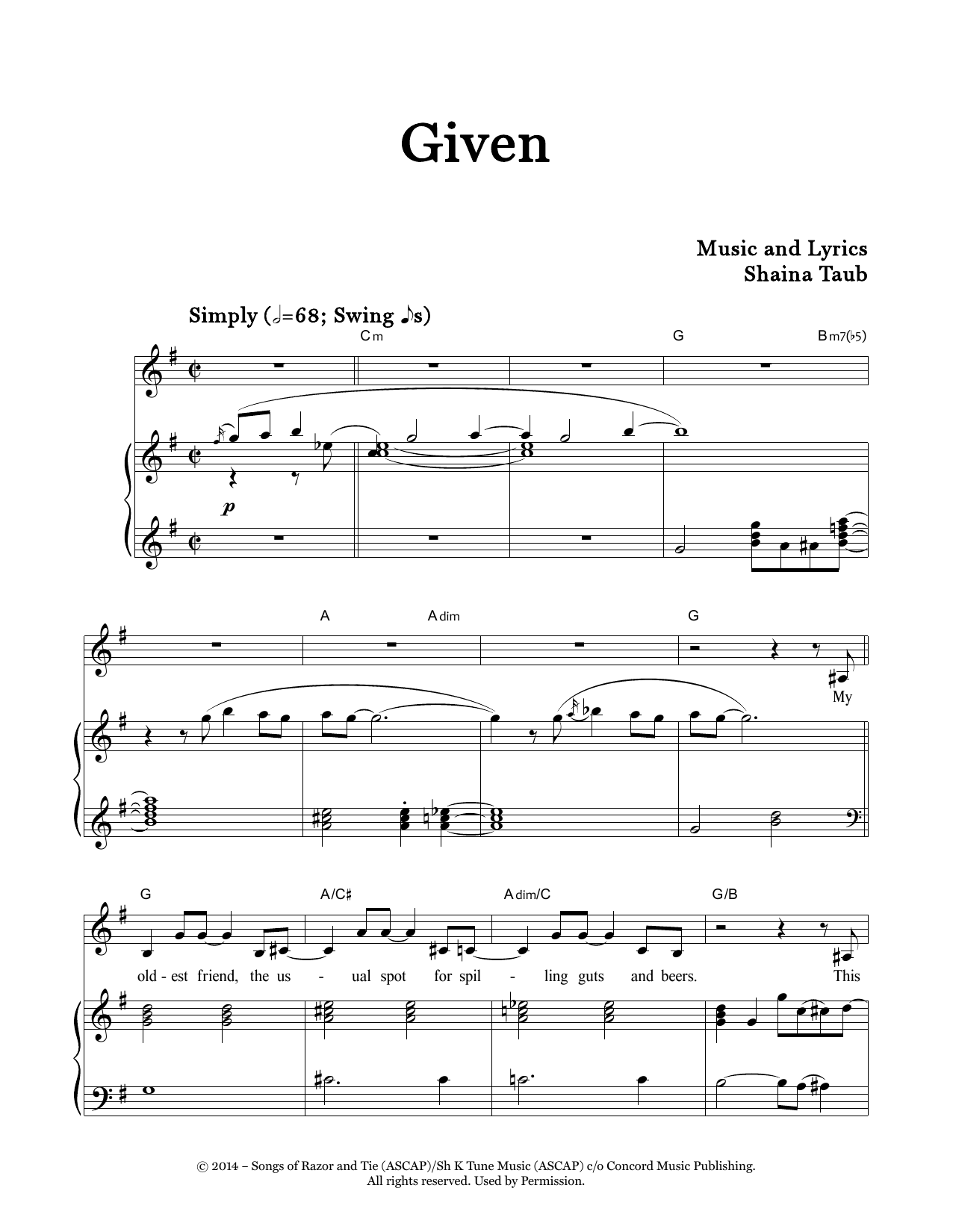Given Sheet Music
