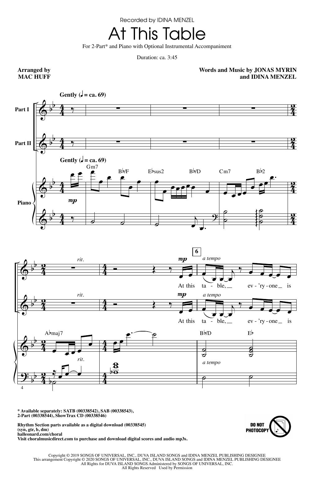 At This Table (arr. Mac Huff) (2-Part Choir)