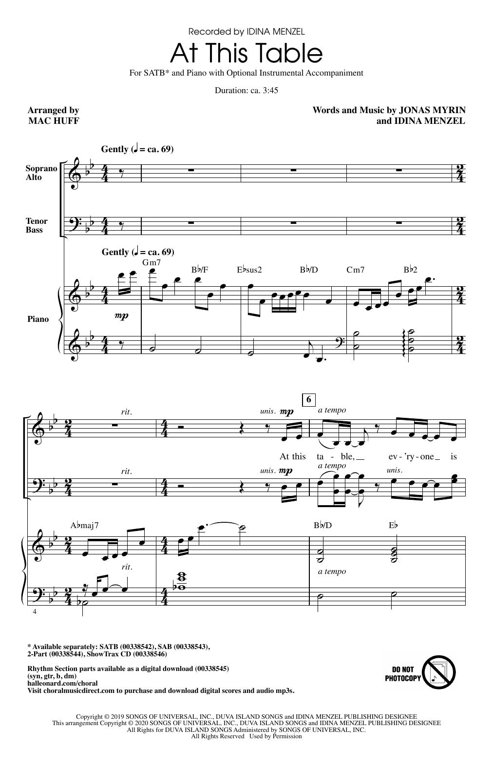 At This Table (arr. Mac Huff) (SATB Choir)