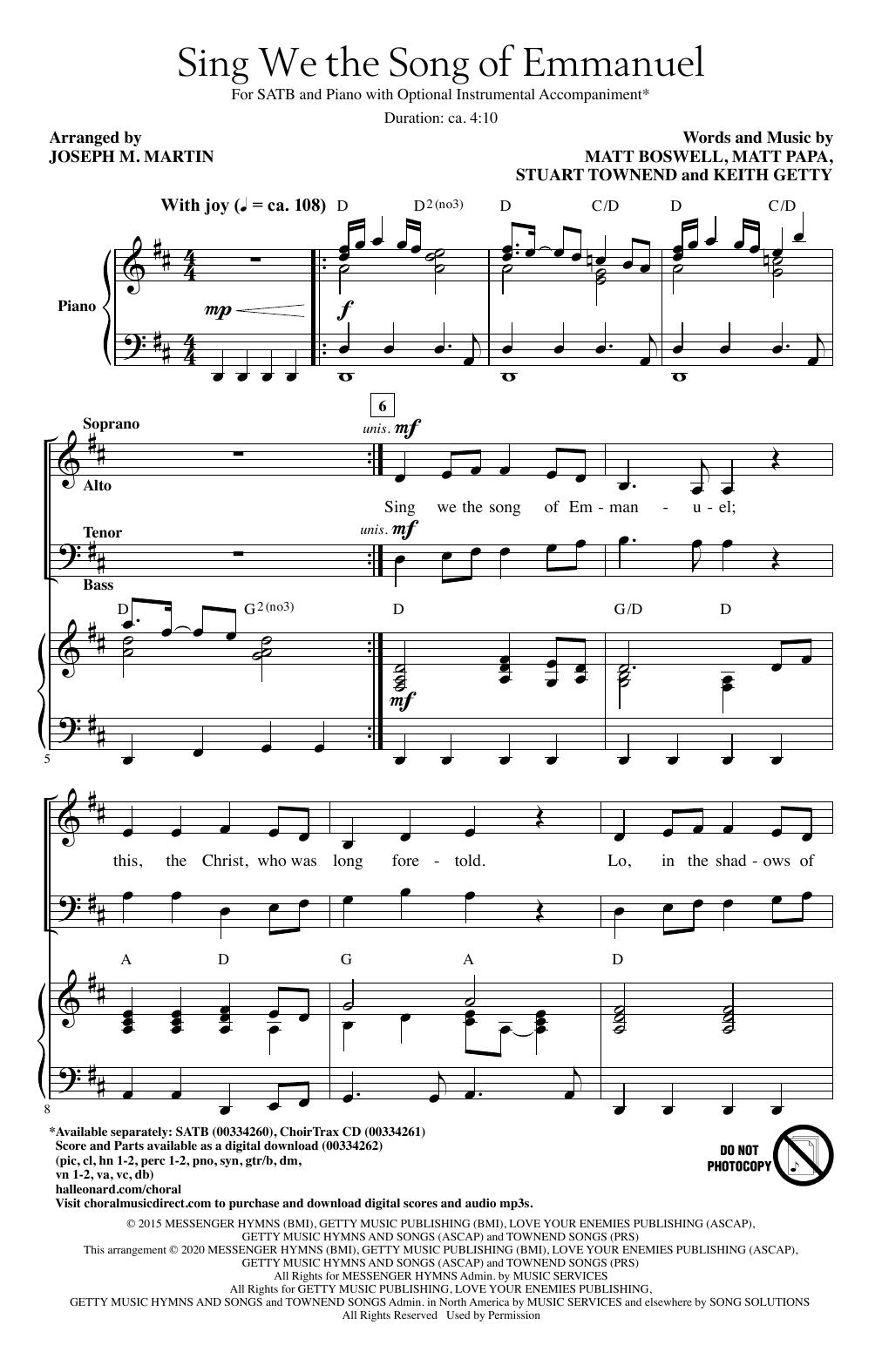 Sing We The Song Of Emmanuel (arr. Joseph M. Martin) (SATB Choir)