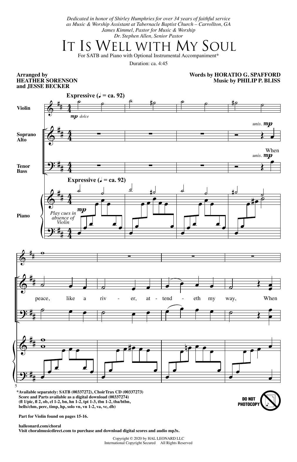 It Is Well With My Soul (arr. Heather Sorenson and Jesse Becker) (SATB Choir)