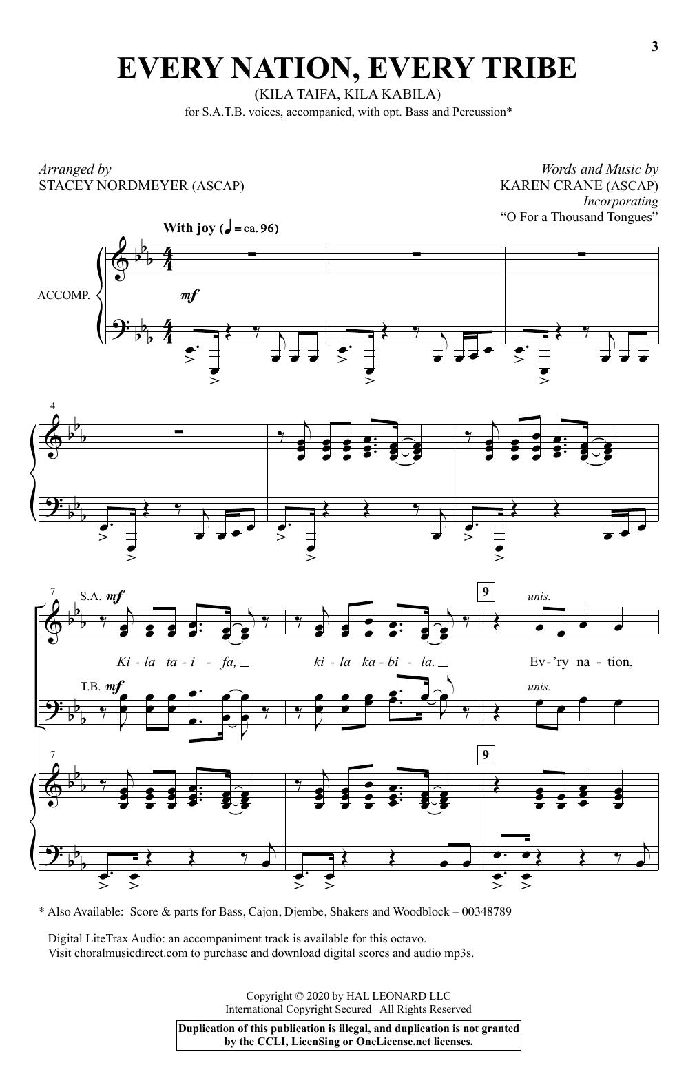 Every Nation, Every Tribe (Ki La Taifa, Kila Kabila) (arr. Stacey Nordmeyer) (SATB Choir)