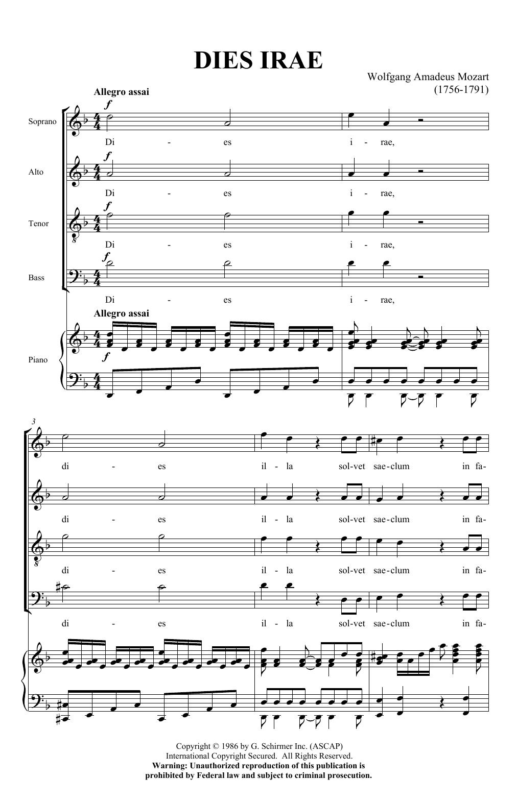 Dies Irae (from Requiem) (SATB Choir)