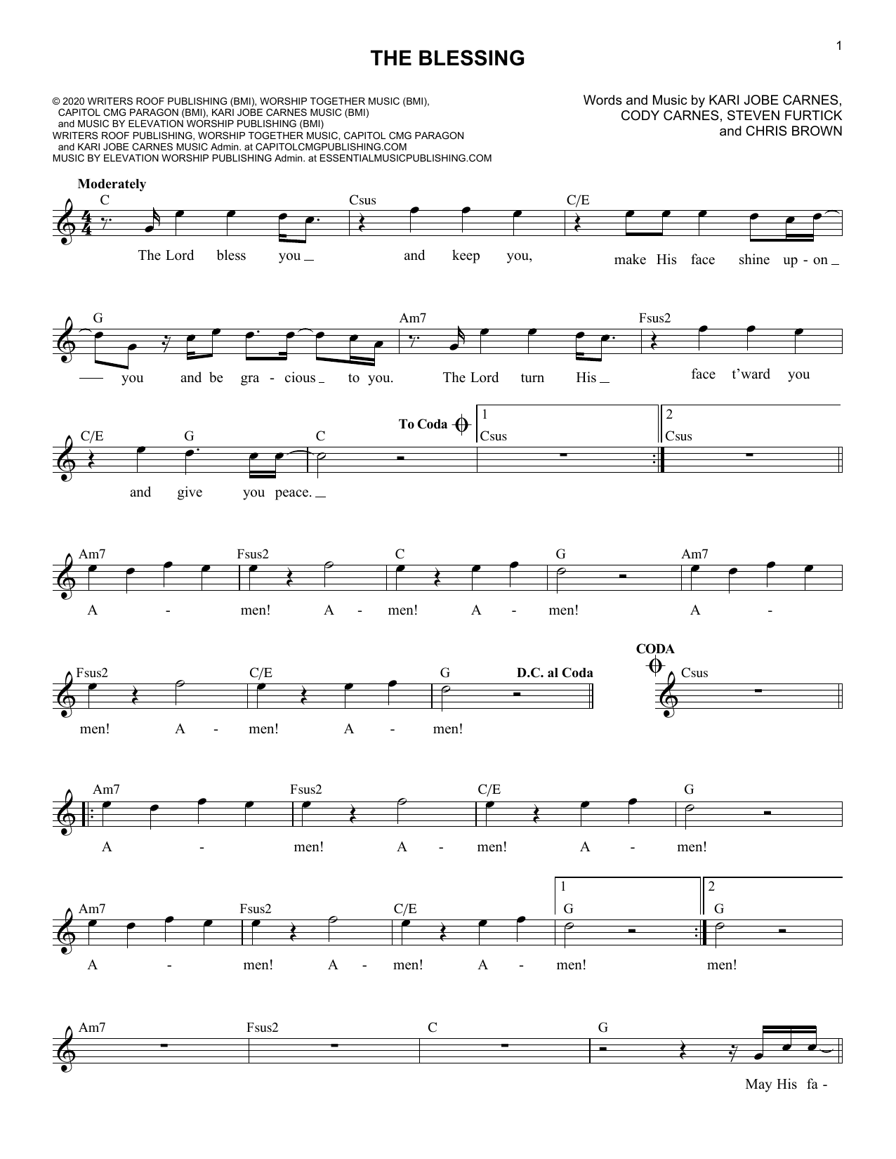 The Blessing (Lead Sheet / Fake Book)