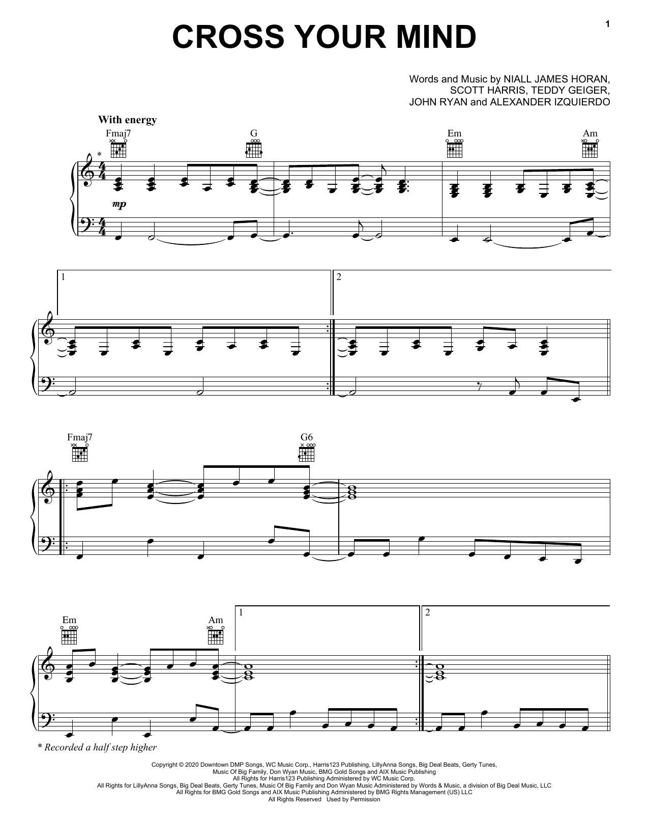 Cross Your Mind (Piano, Vocal & Guitar (Right-Hand Melody))