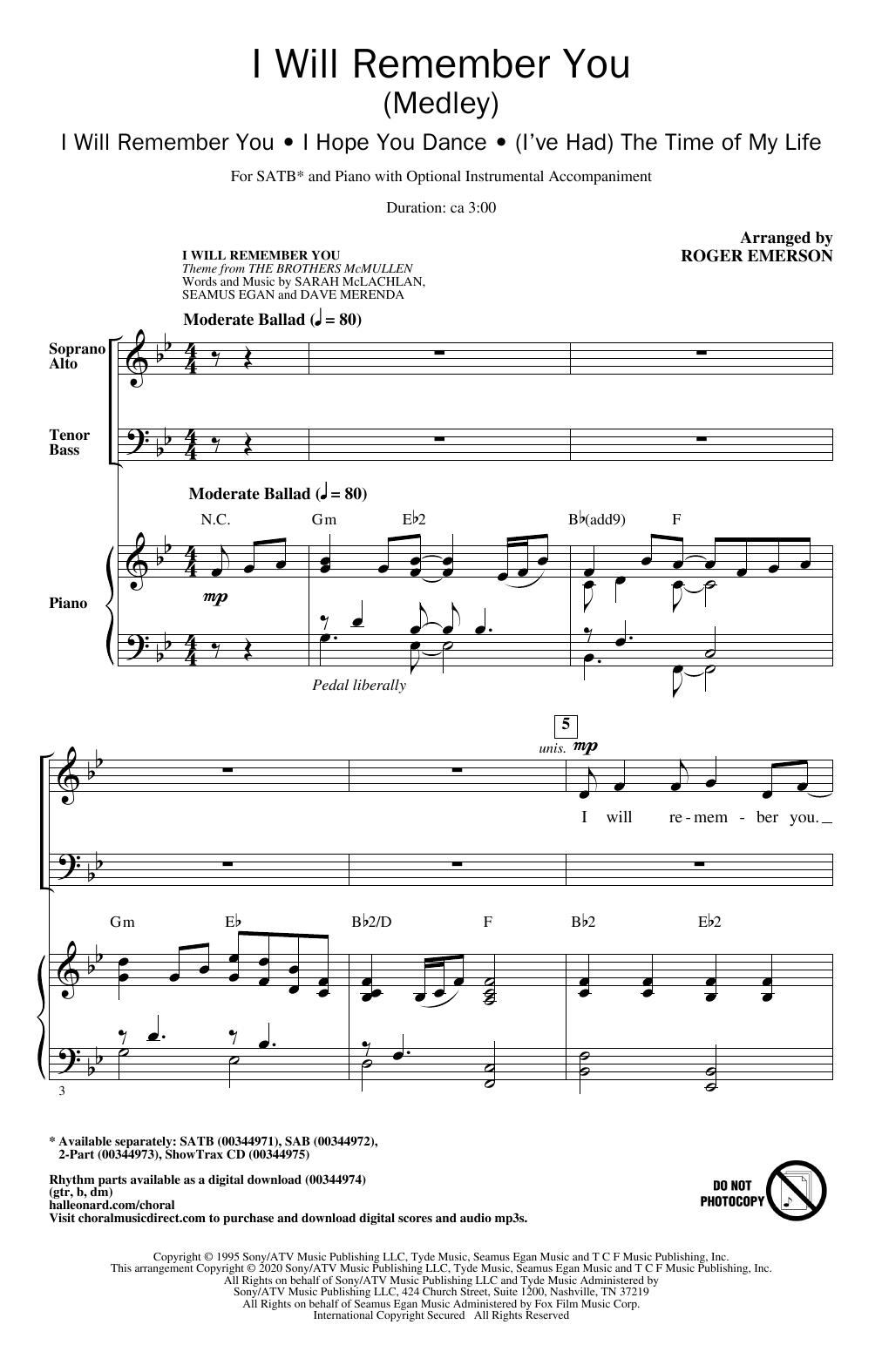 I Will Remember You (Medley) (SATB Choir)