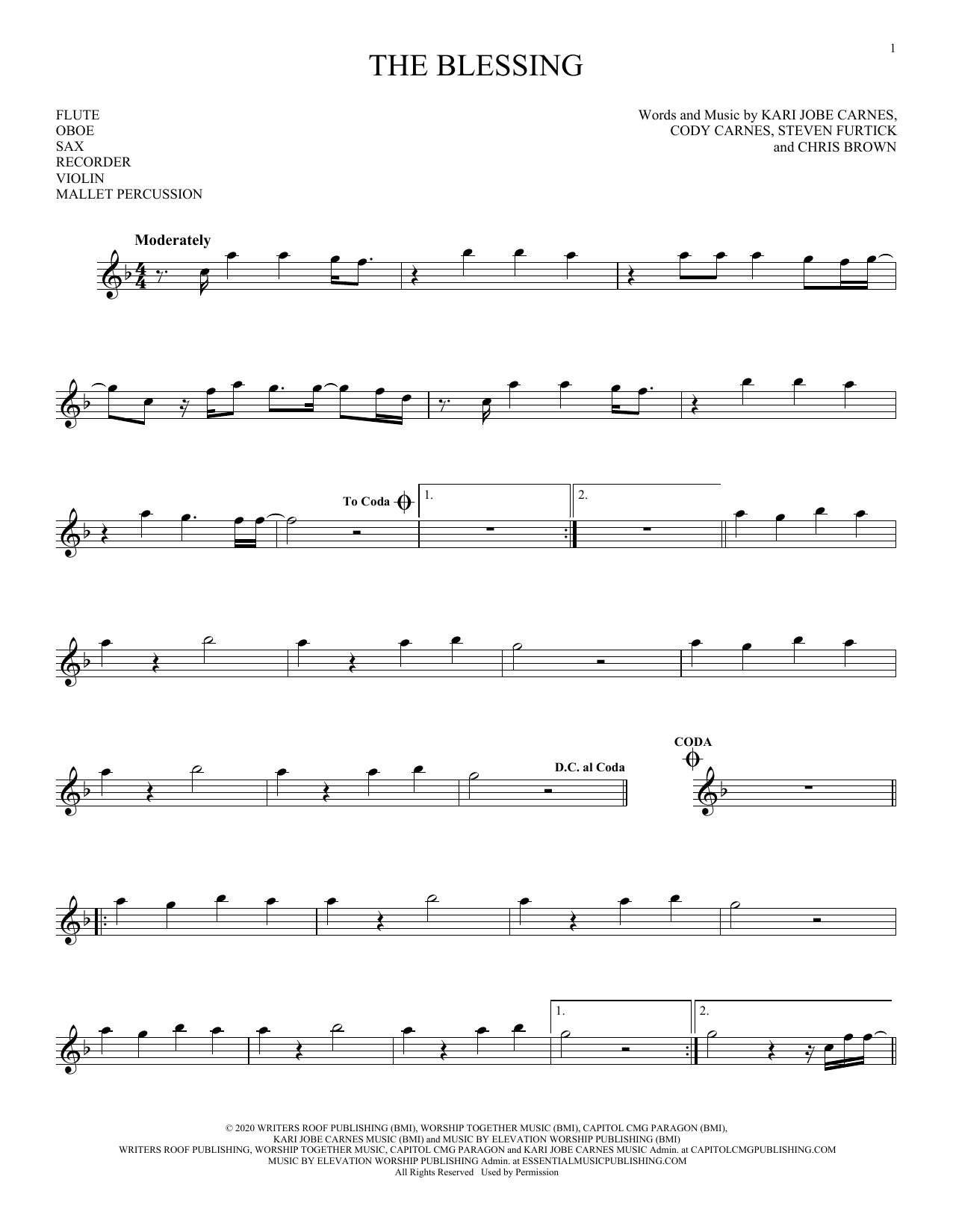 The Blessing (Instrumental Solo – Treble Clef High Range)