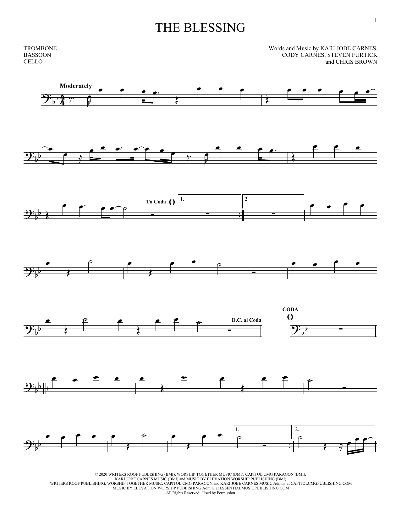 The Blessing (Instrumental Solo – Bass Clef)
