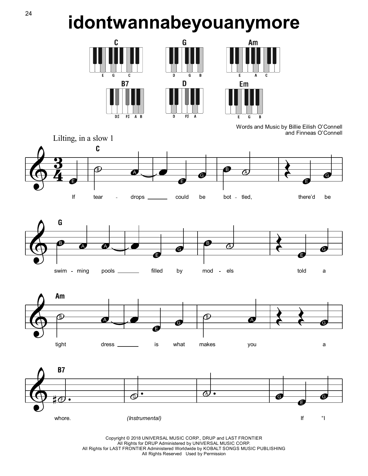 idontwannabeyouanymore (Super Easy Piano)