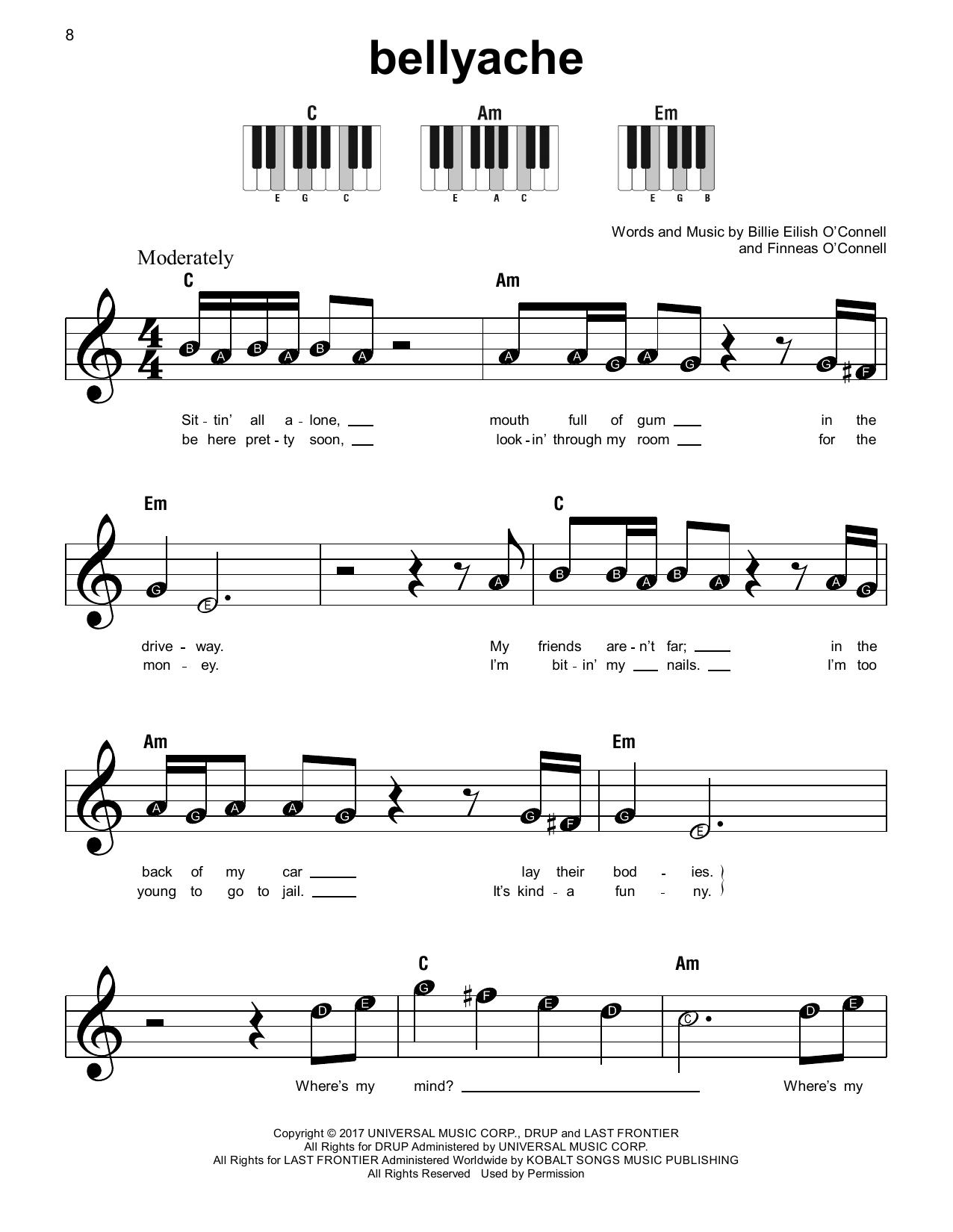 bellyache (Super Easy Piano)