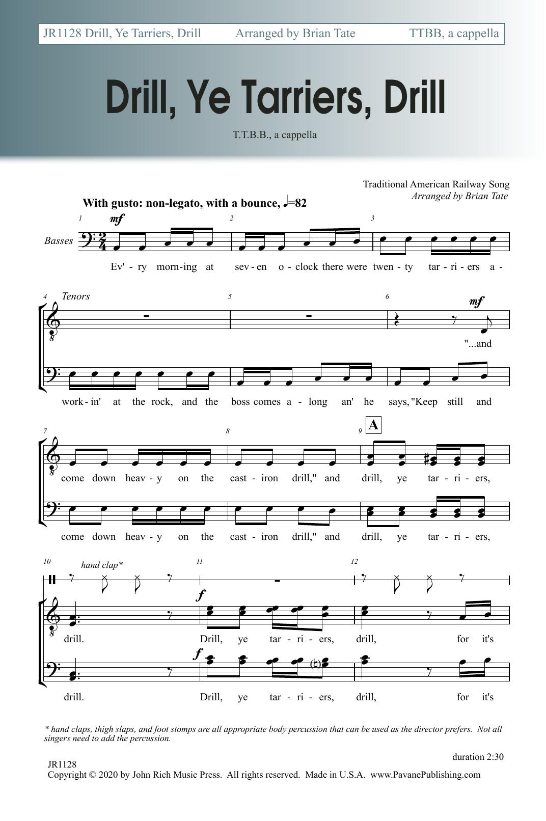 Drill, Ye Tarriers, Drill Sheet Music