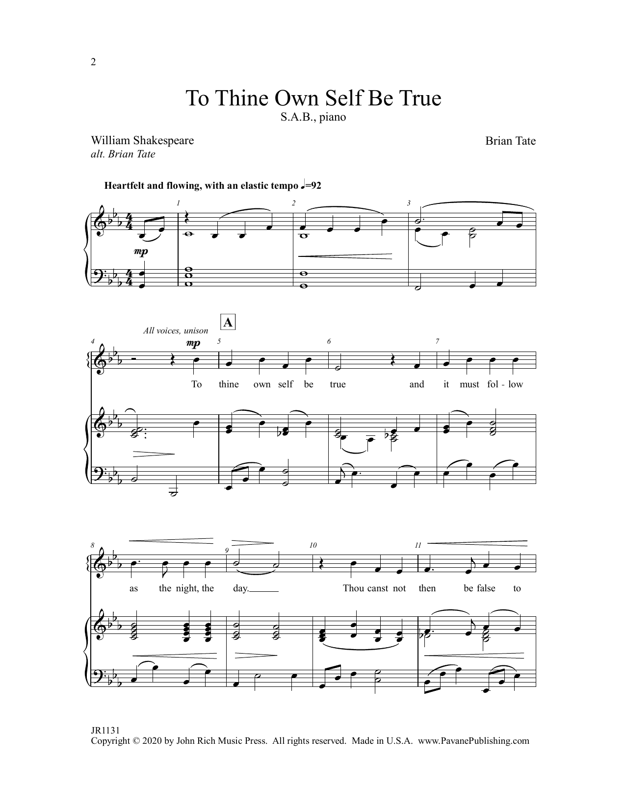 To Thine Own Self Be True Sheet Music