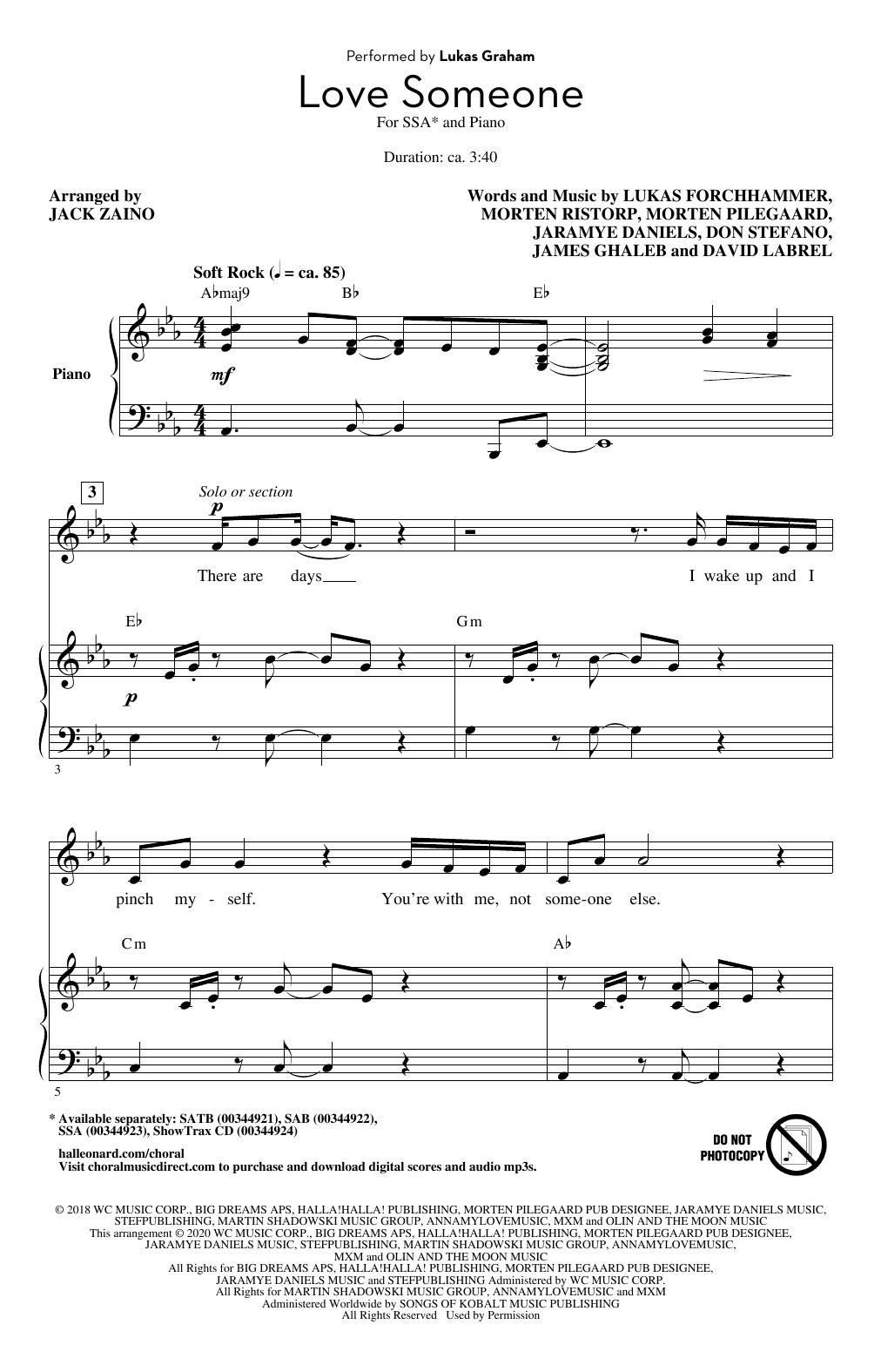 Love Someone (arr. Jack Zaino) (SSA Choir)