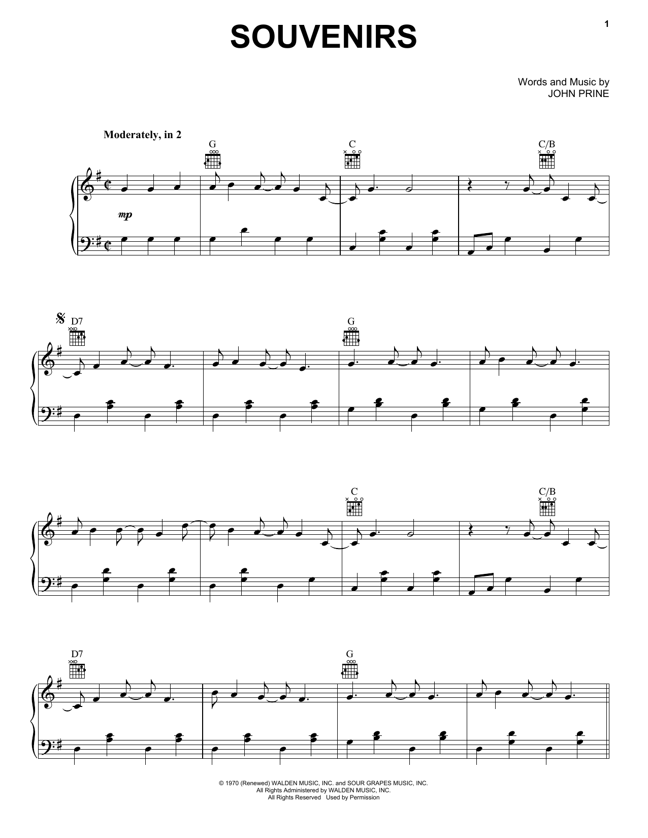 Souvenirs (Piano, Vocal & Guitar (Right-Hand Melody))
