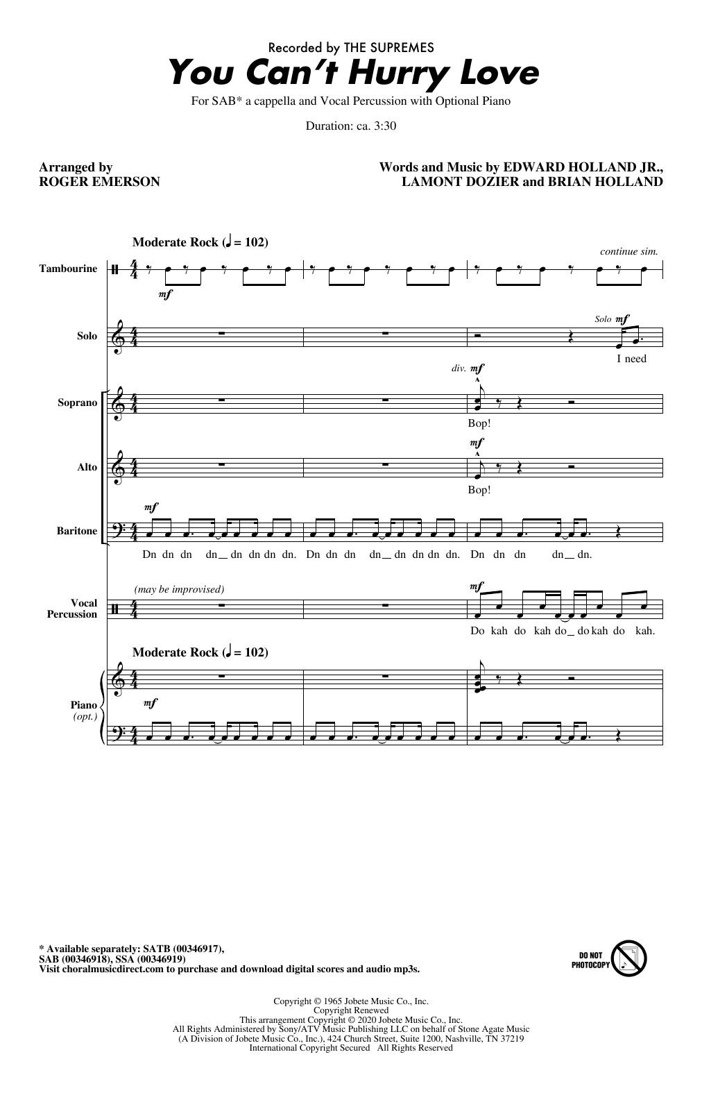 You Can't Hurry Love (arr. Roger Emerson) (SAB Choir)