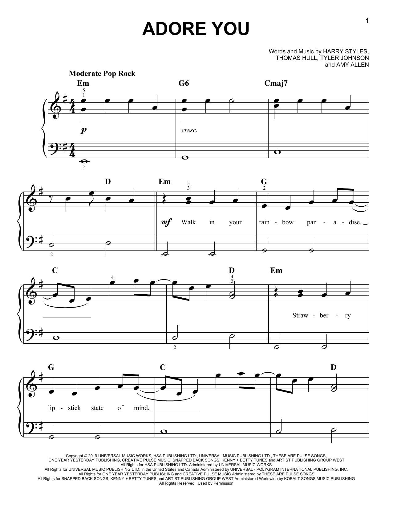 Adore You (Very Easy Piano)