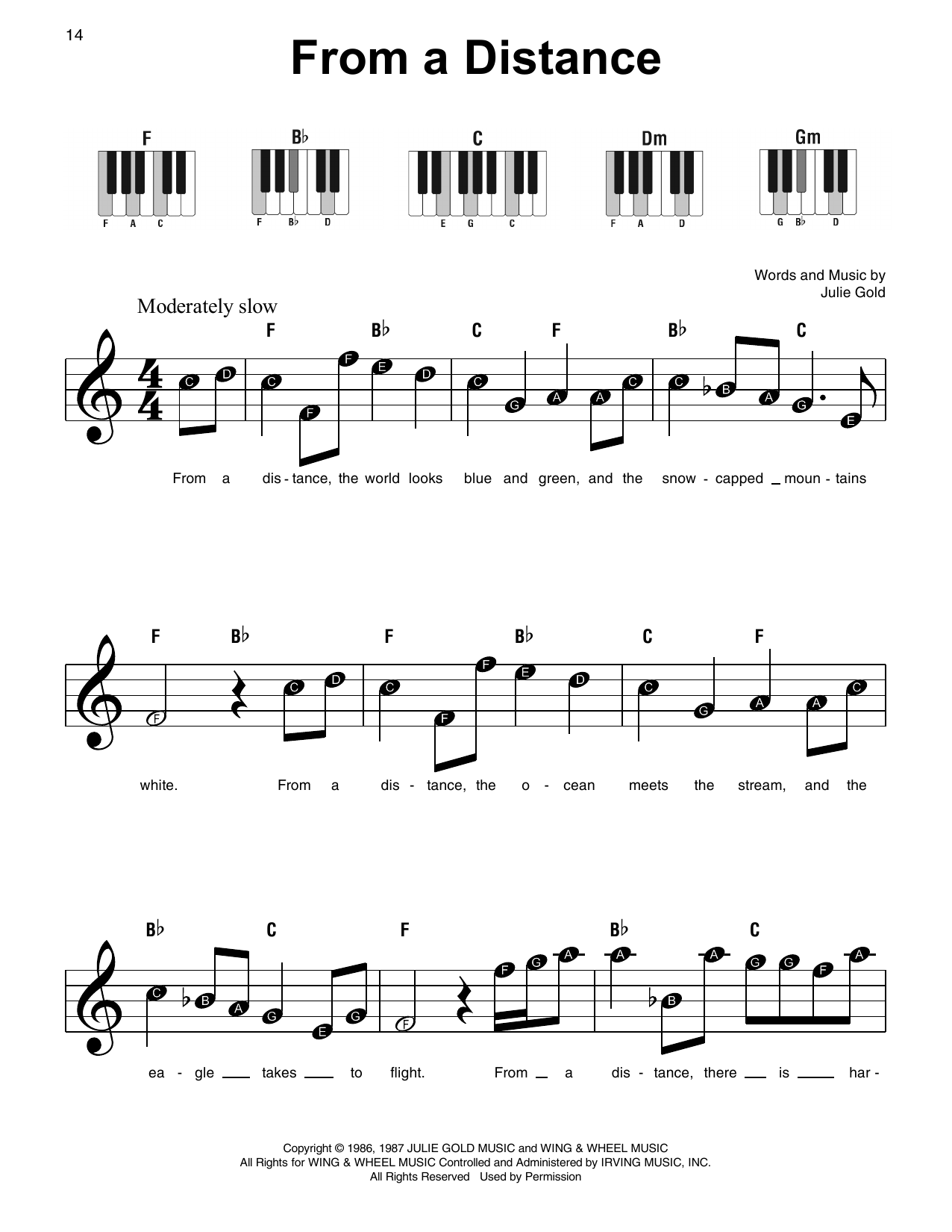 From A Distance (Super Easy Piano)