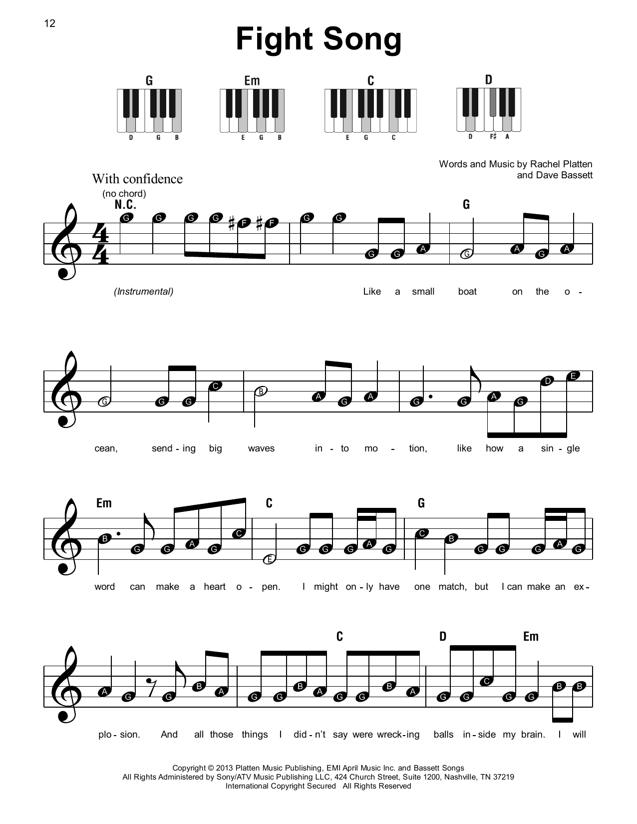 Fight Song (Super Easy Piano)