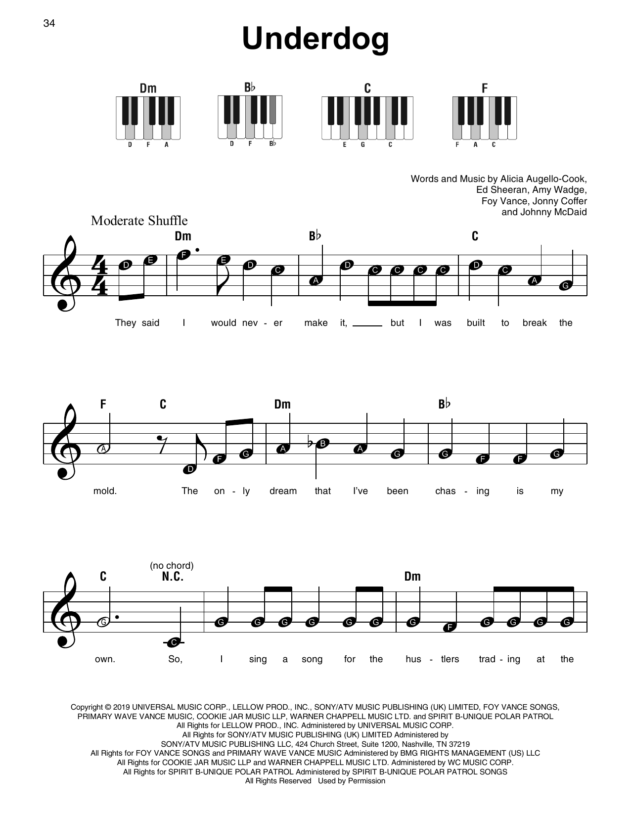 Underdog (Super Easy Piano)