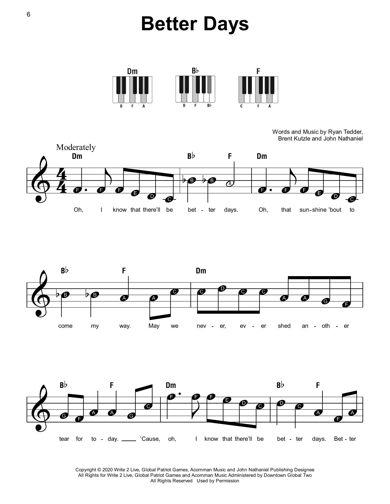 Better Days (Super Easy Piano)