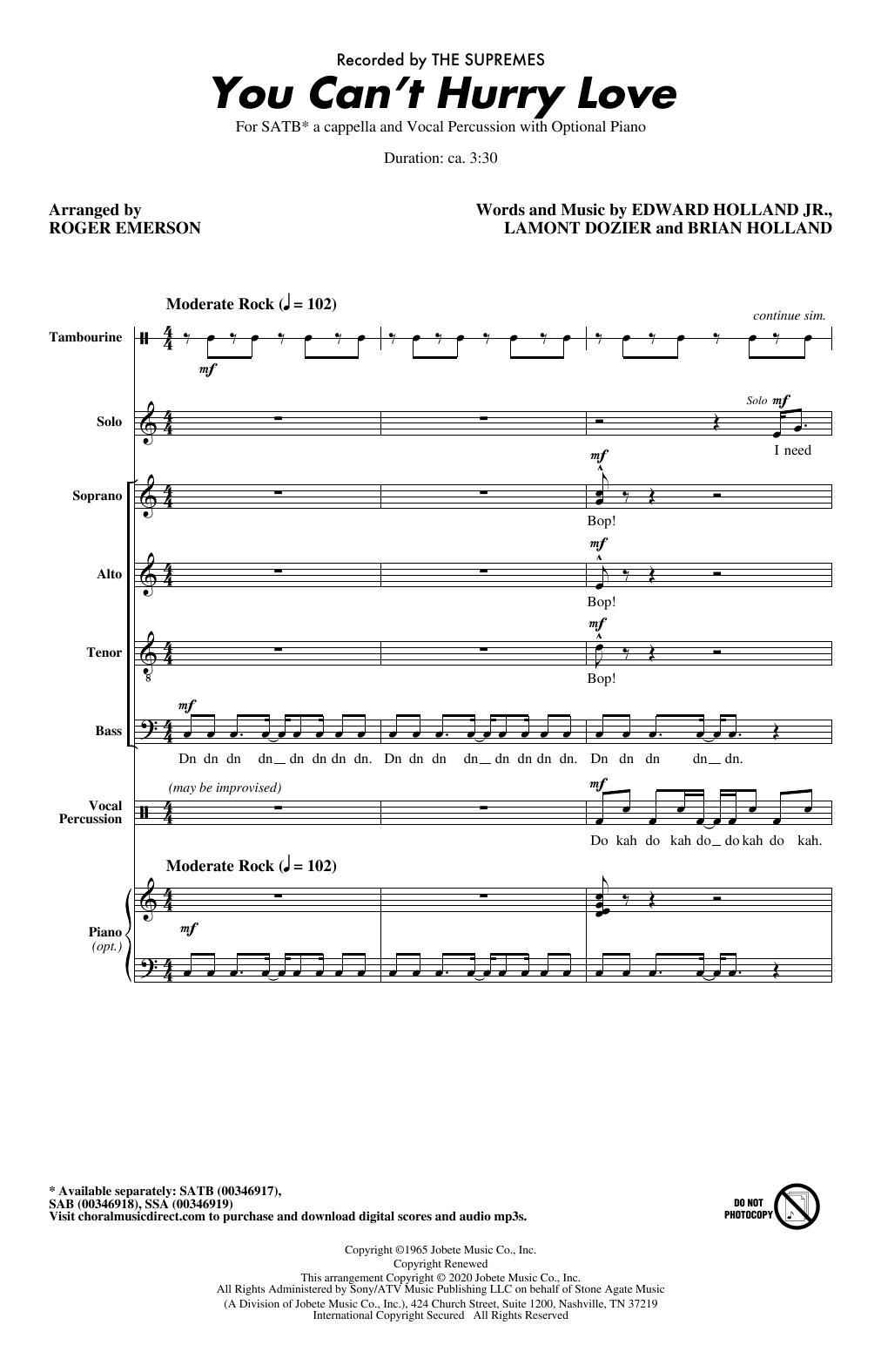 You Can't Hurry Love (arr. Roger Emerson) (SATB Choir)