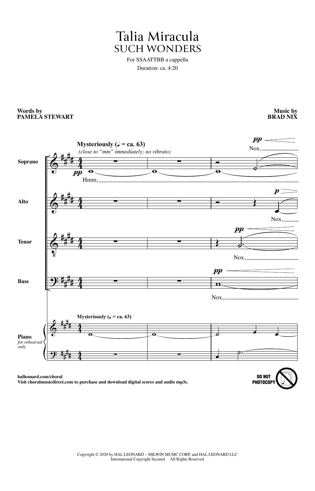Talia Miracula (Such Wonders) (SSAATTBB Choir)