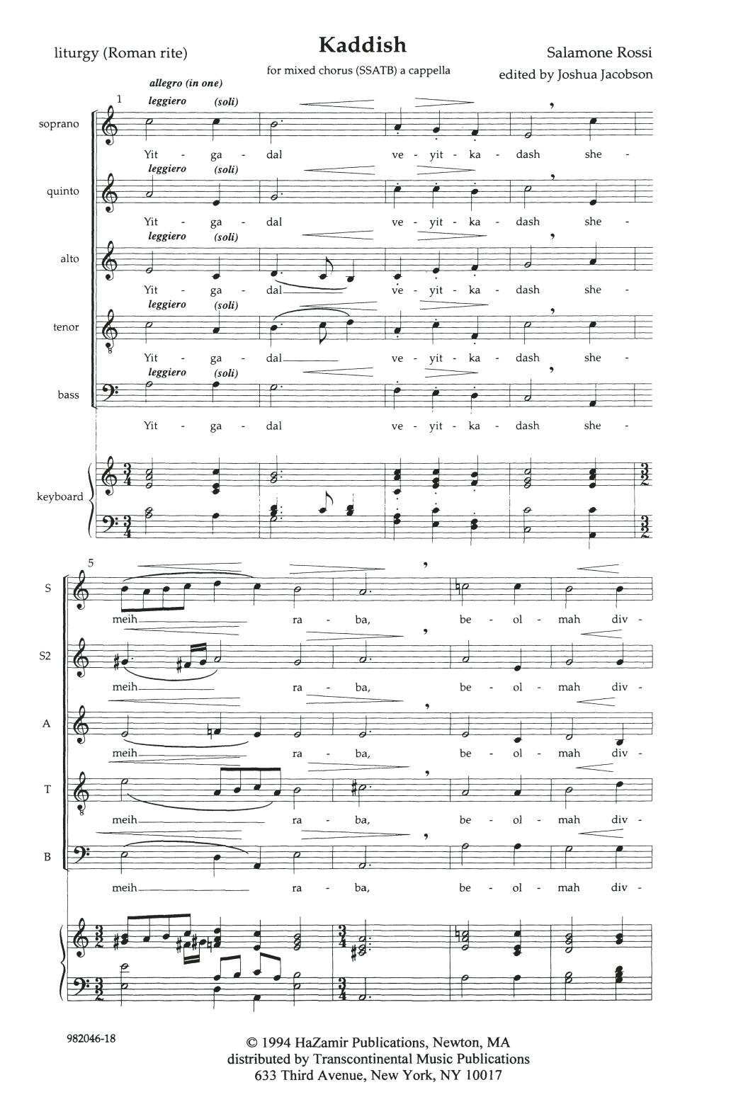 Kaddish (SSATB Choir)