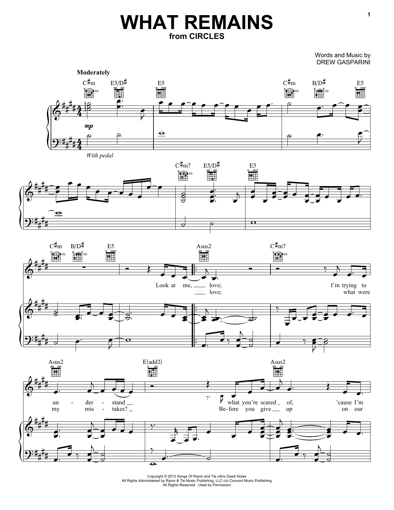 What Remains (from Circles) (Piano, Vocal & Guitar (Right-Hand Melody))