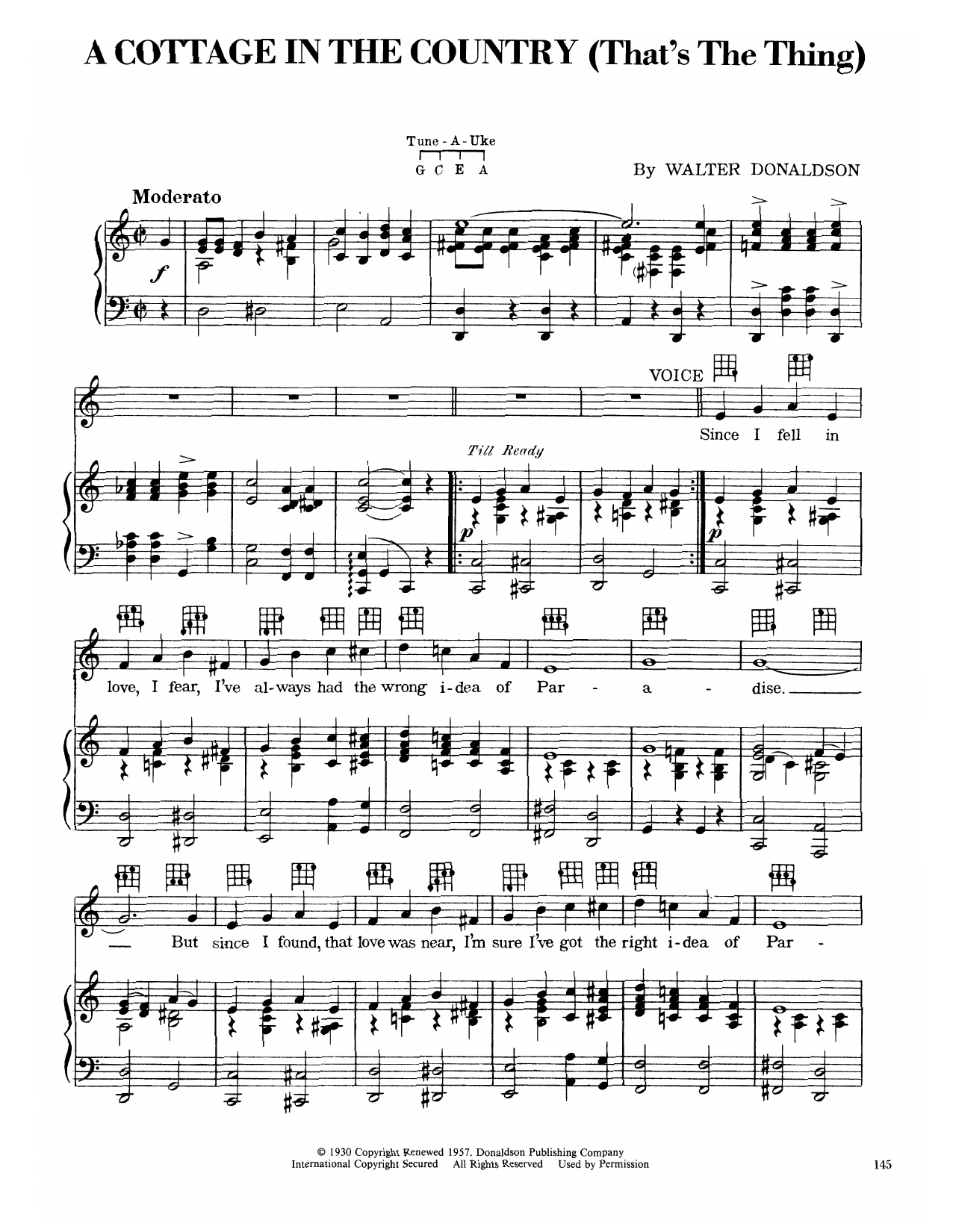 A Cottage In The Country (That's The Thing) (Piano, Vocal & Guitar (Right-Hand Melody))