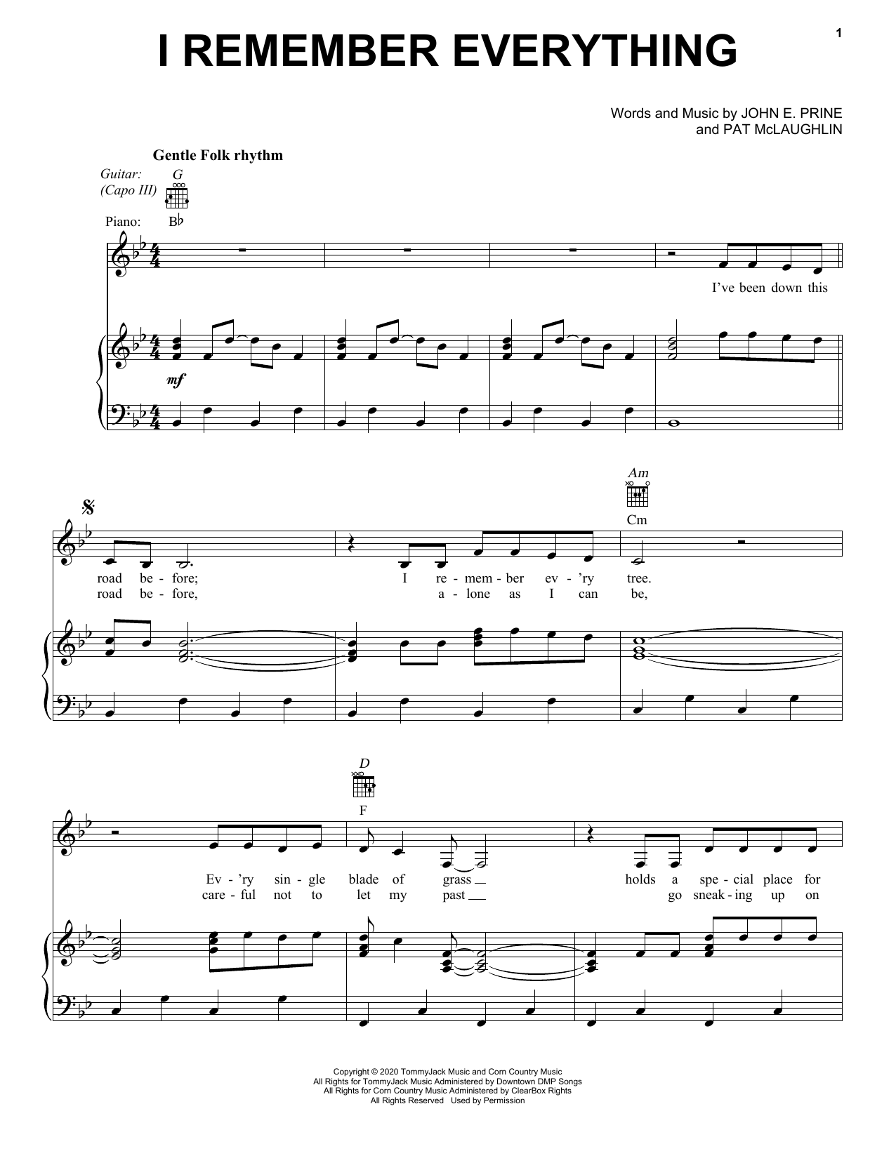 I Remember Everything (Piano, Vocal & Guitar (Right-Hand Melody))