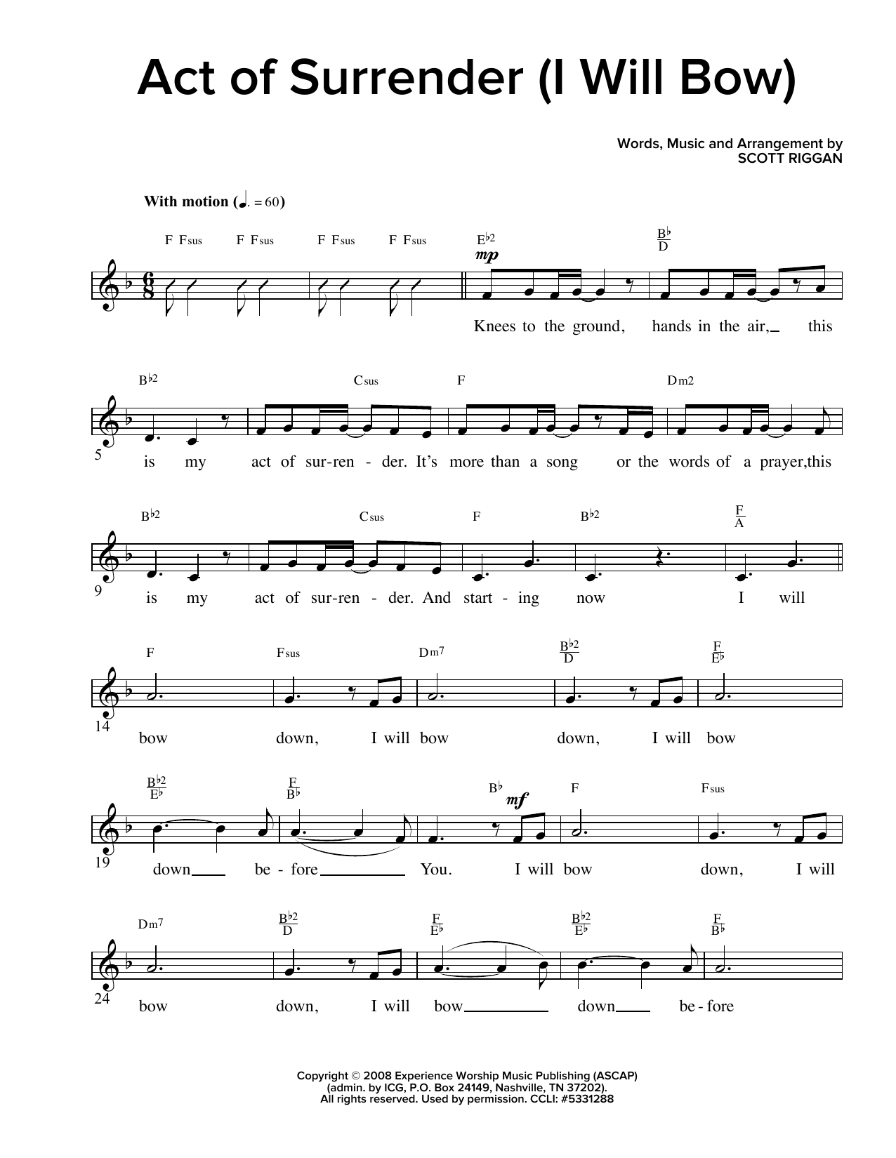 Act Of Surrender (I Will Bow) (Lead Sheet / Fake Book)