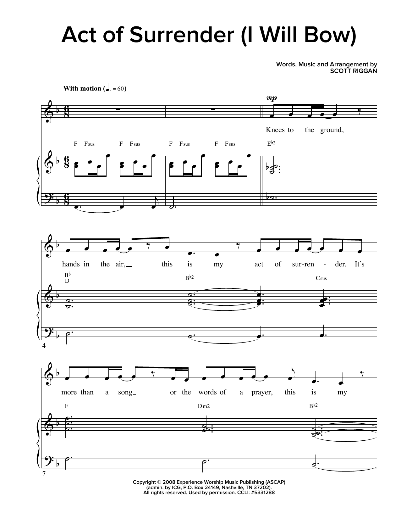 Act Of Surrender (I Will Bow) (Piano & Vocal)