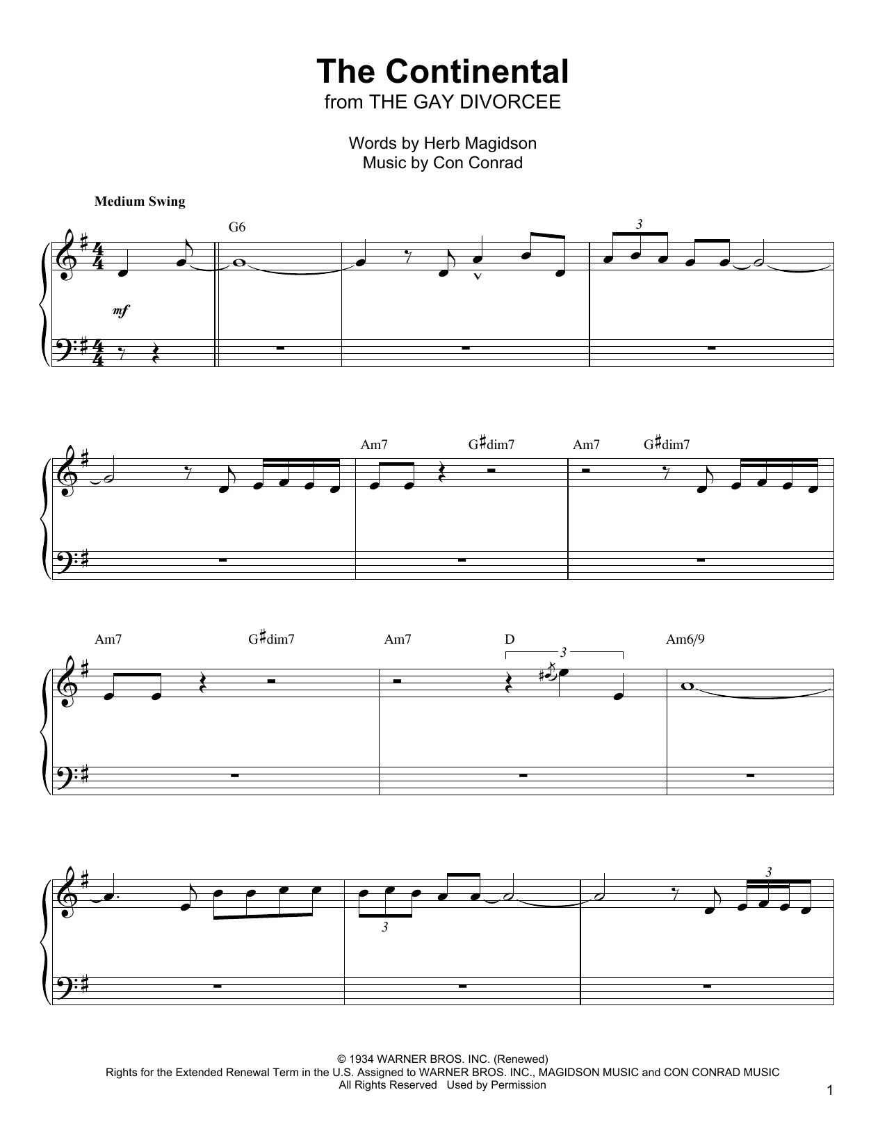 The Continental Sheet Music