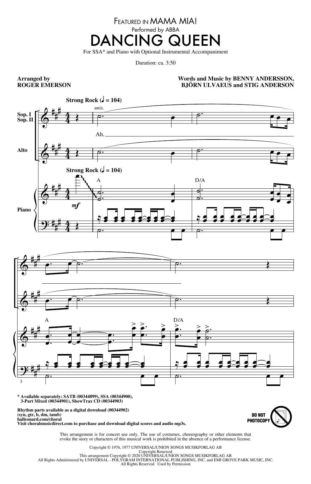 Dancing Queen (from Mamma Mia!) (arr. Roger Emerson) (SSA Choir)