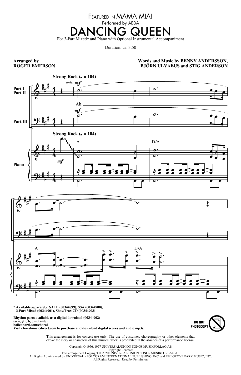 Dancing Queen (from Mamma Mia!) (arr. Roger Emerson) Sheet Music