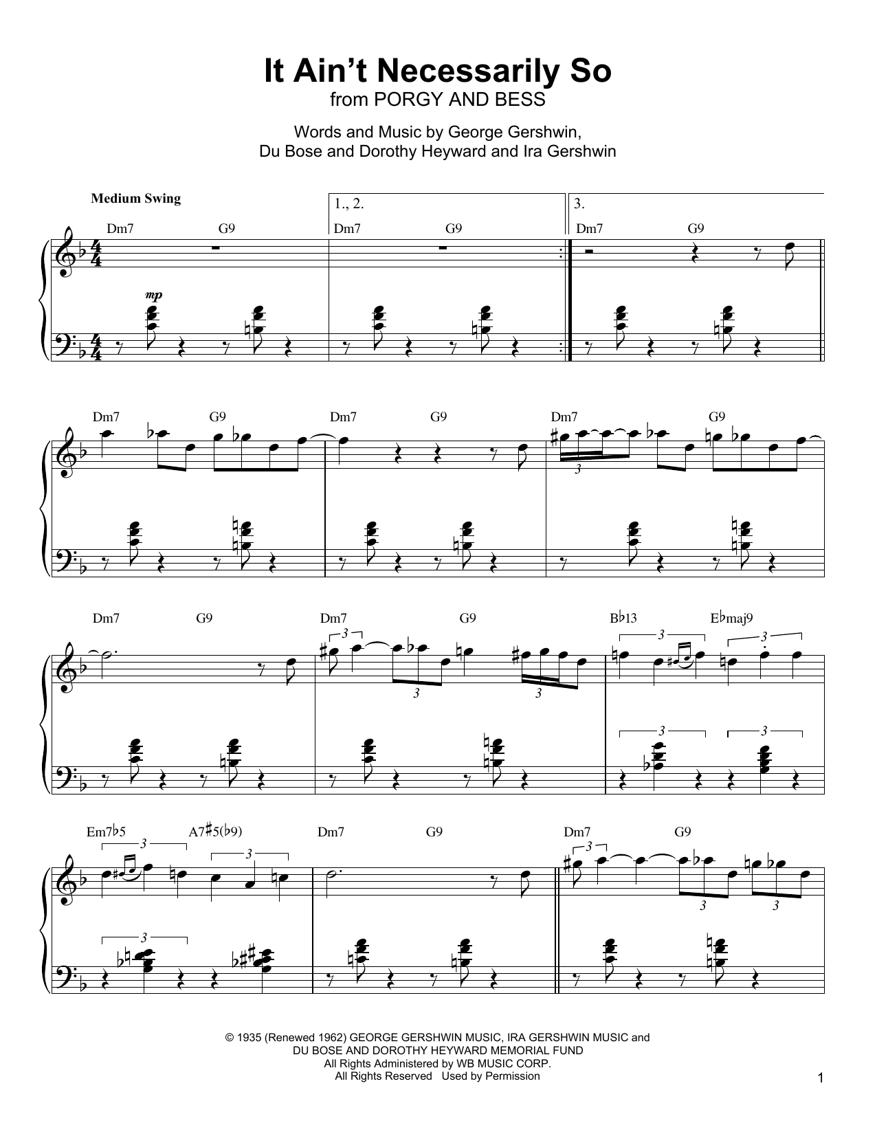 It Ain't Necessarily So Sheet Music