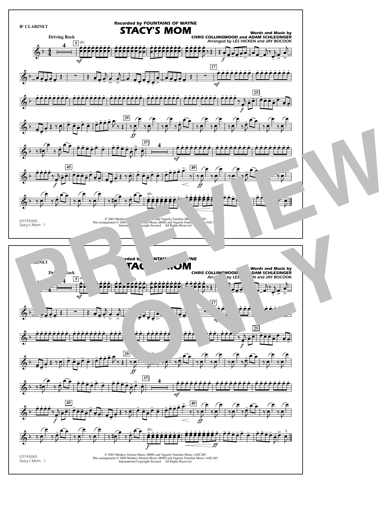 Stacy's Mom (arr. Les Hicken and Jay Bocook) - Bb Clarinet (Marching Band)
