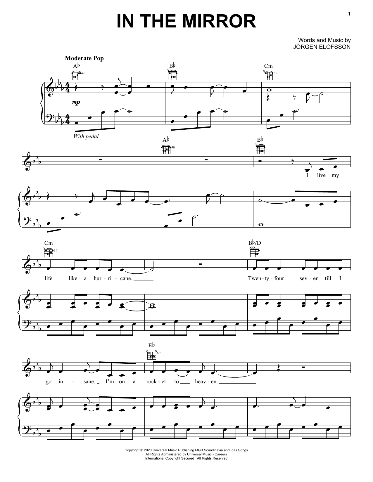 in the mirror (from eurovision song contest: the story of fire saga) sheet  music | demi lovato | piano, vocal & guitar (right-hand melody)  sheet music direct