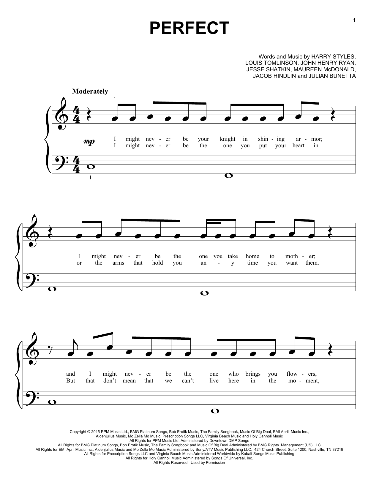 Perfect Sheet Music   One Direction   Big Note Piano