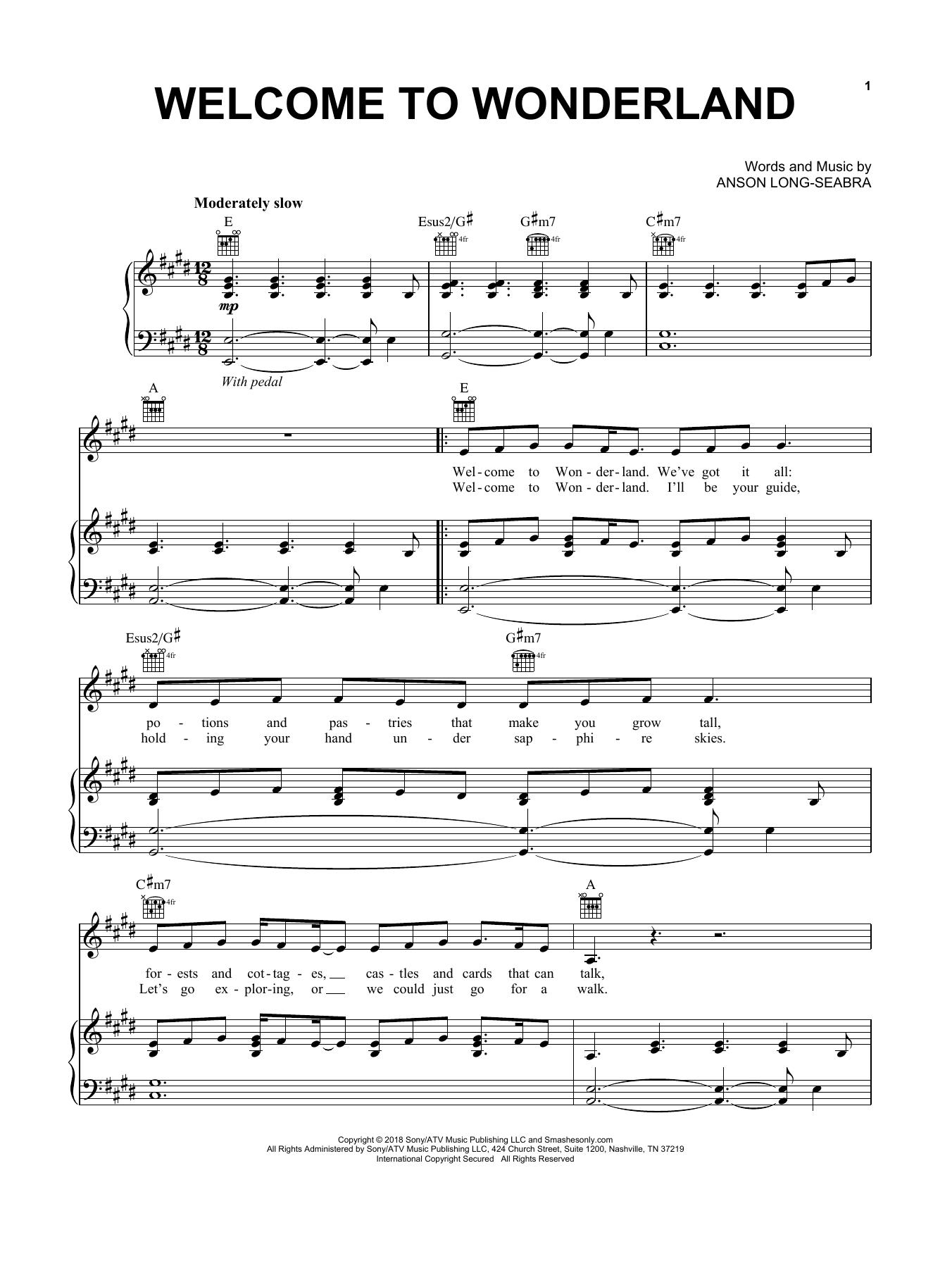 Welcome To Wonderland Noten   Anson Seabra   Klavier, Gesang & Gitarre  rechte Hand Melodie