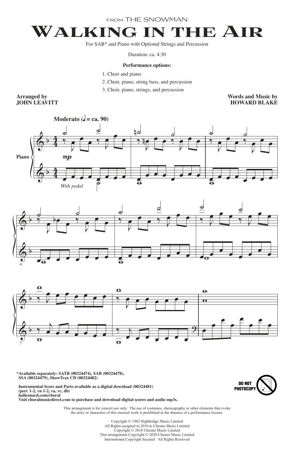 Walking In The Air (from The Snowman) (arr. John Leavitt) Sheet Music