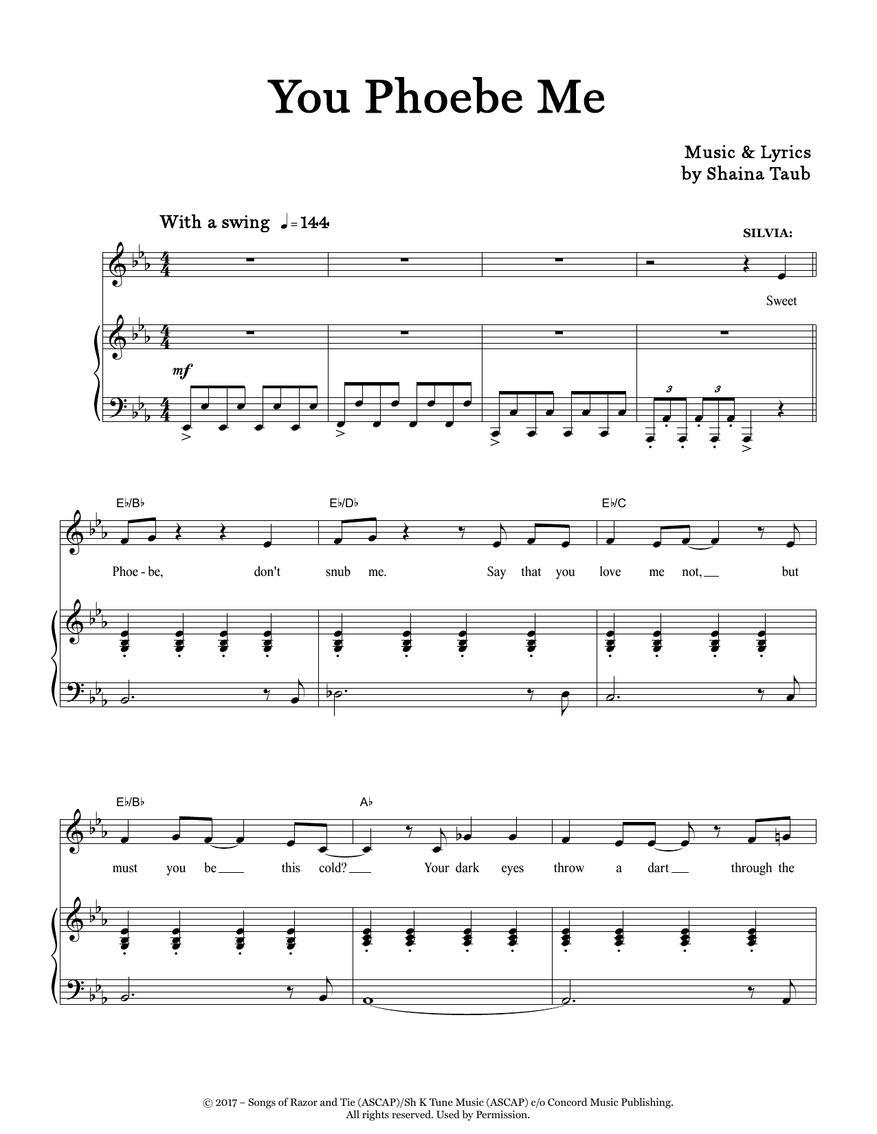 You Phoebe Me (from As You Like It) Sheet Music