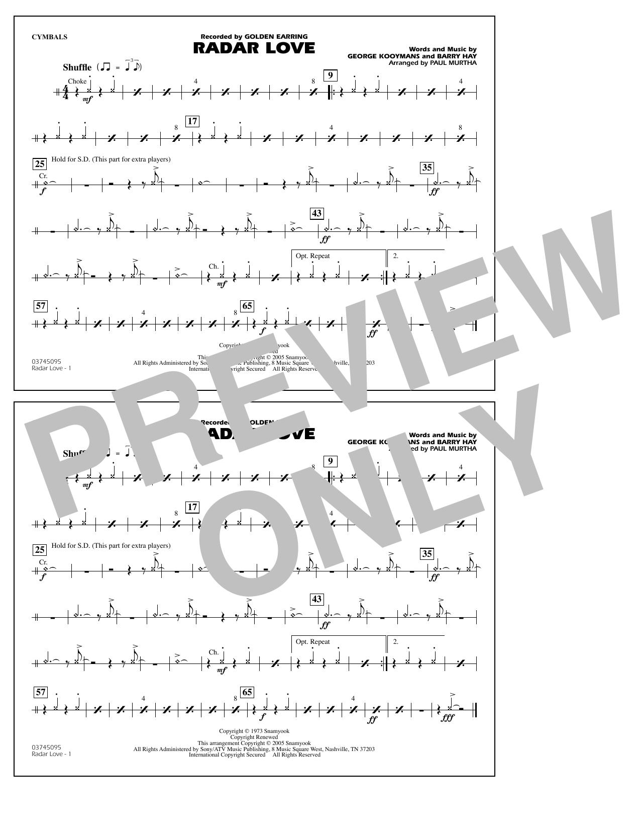 Radar Love (arr. Paul Murtha) - Cymbals Sheet Music