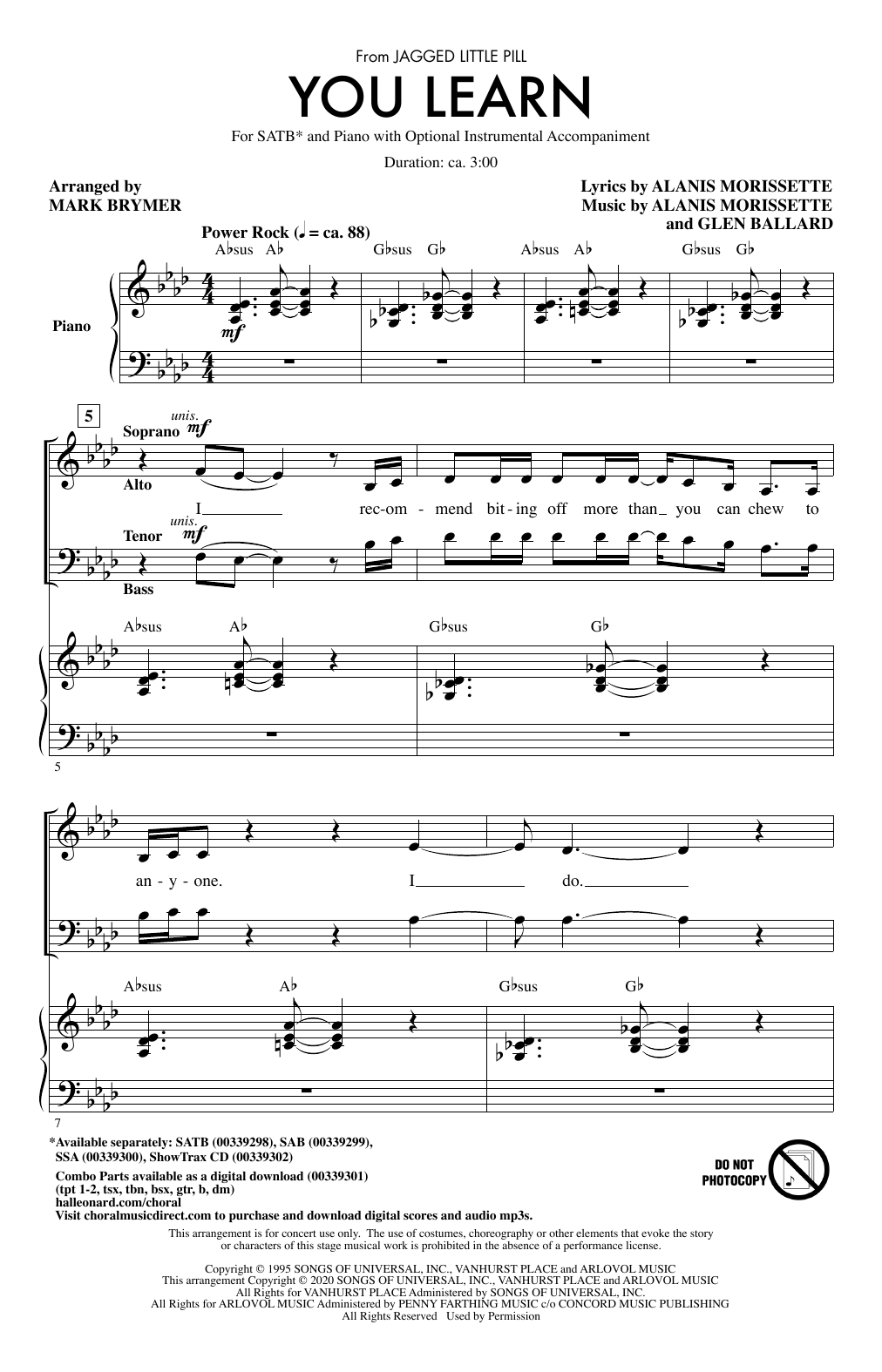You Learn (from Jagged Little Pill) (arr. Mark Brymer) Sheet Music