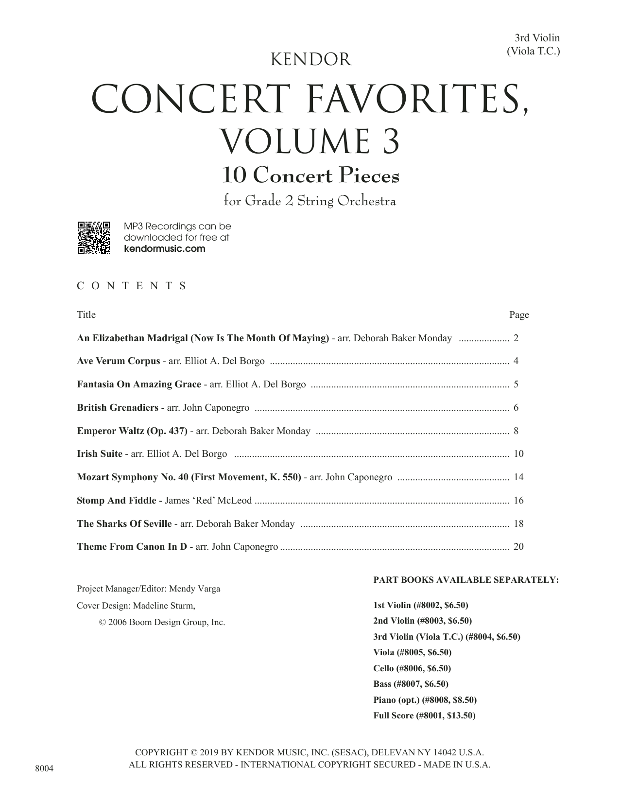 Kendor Concert Favorites, Volume 3 - 3rd Violin (Viola T.C.) Sheet Music