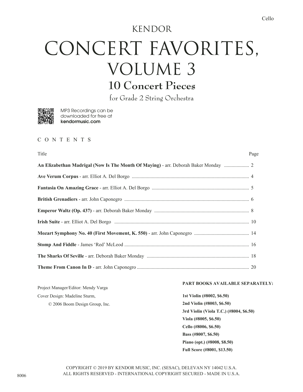 Kendor Concert Favorites, Volume 3 - Cello Sheet Music