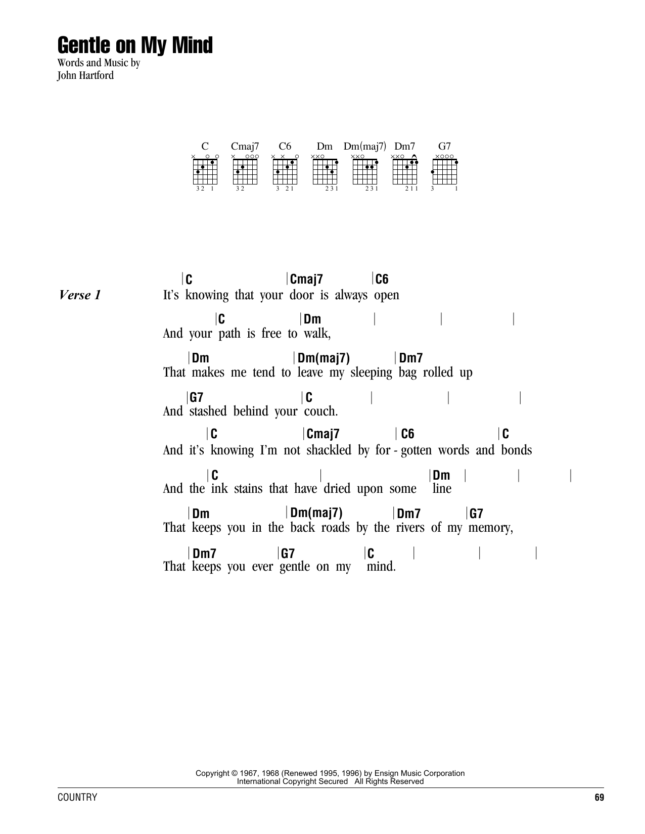 Gentle On My Mind Sheet Music Glen Campbell Lyrics Chords