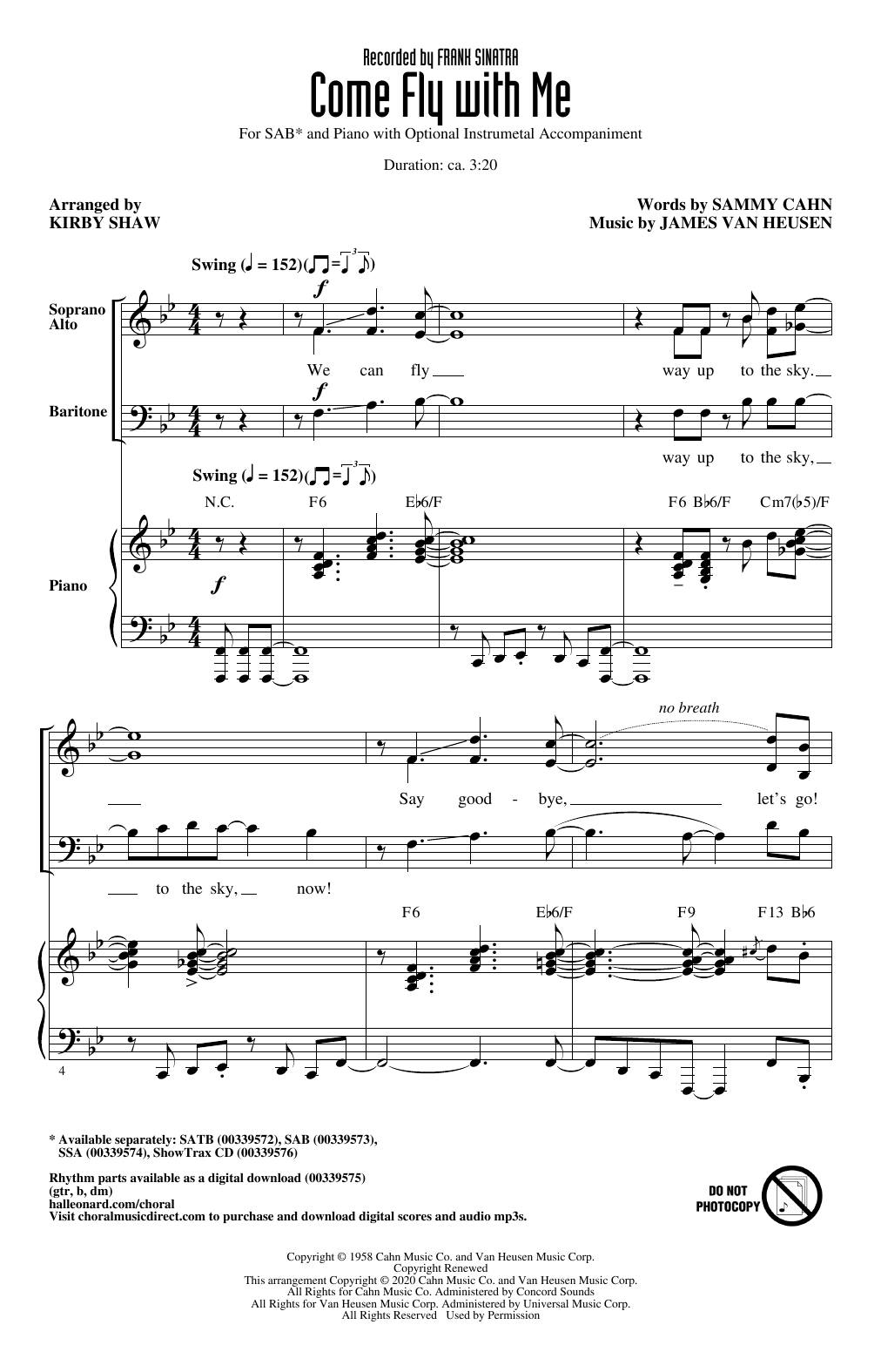 Come Fly With Me (arr. Kirby Shaw) Sheet Music