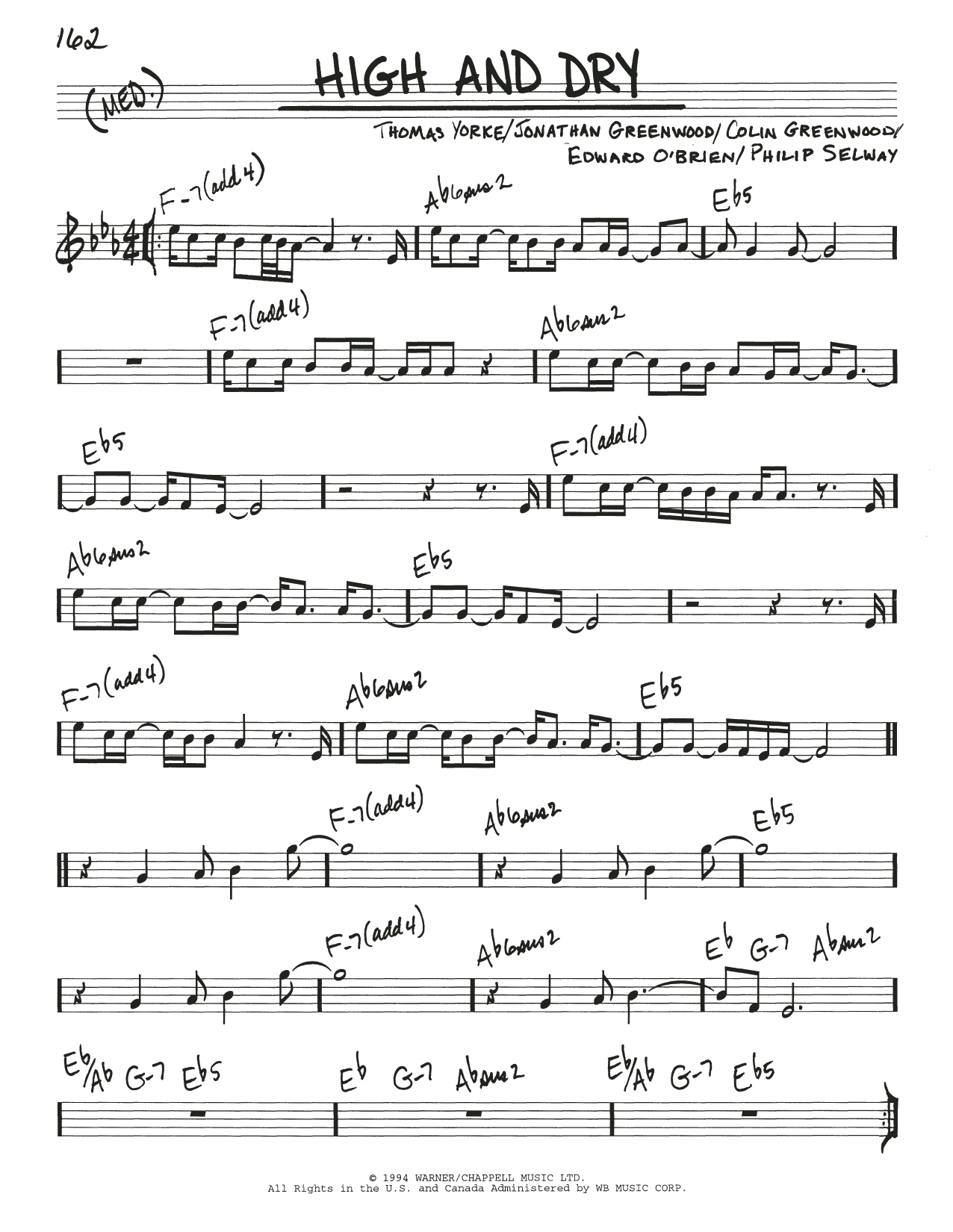 High And Dry Sheet Music   Radiohead   Real Book – Melody & Chords